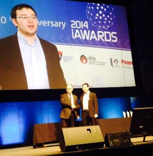 Alex Sharp accepting the Hills Young Innovator of the Year Award, Cloud